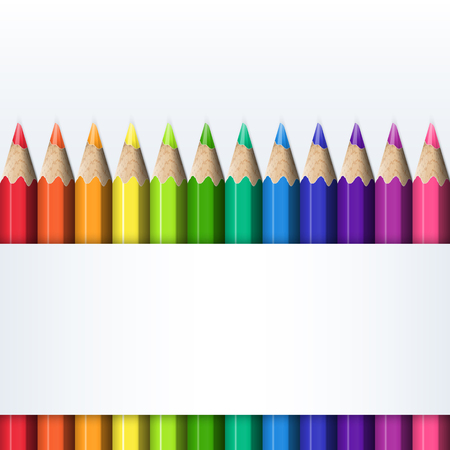 Template for Cover of Box of Colored Pencils. Straight Line of Bright Realistic Colorful Pencils. Illustration