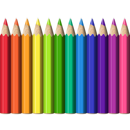 Line of Colorful Pencils Continuous to Right and to Left. Set of Realistic Sharp Colored Pencils.