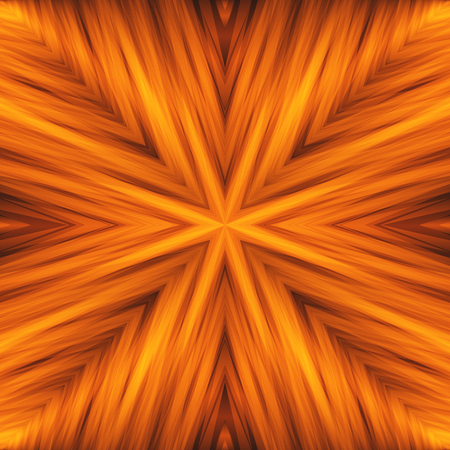 Bright Striped Angular Background of Flamy Colors. Orange Texture of Symmetric Intersecting Lines from Center.
