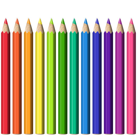 Set of Realistic Sharp Colorful Pencils. Stationery Isolated Design Elements Pencils of Different Colors.