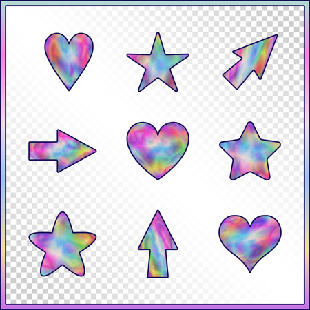 Set of Stars, Hearts, Arrows with Holographic Effect. Kit of Isolated Signs for Site, Web, Website.