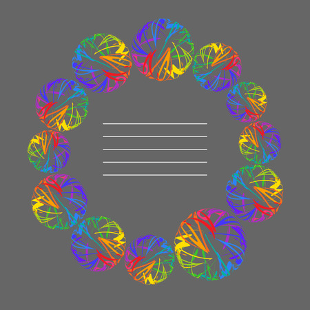 Place for your Text Radial Frame of Rainbow Circle on Grey Background. Decorative Design Element for Cover of Copybok, Notebook, Book, Booklet, Brochure, Pamphlet.