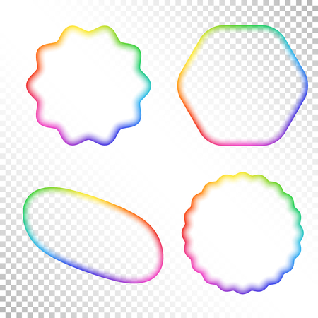 Set of Abstract Transparent Rainbow Gradient Blurry Figure. Place for your Content Colorful Frame with Iridescent Gradient Mesh. Illustration