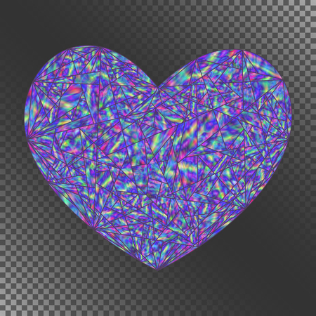 Isolated Object Blue Iridescent Heart for Invitation, Congratulation, Greeting Card, Postcard. Decorative Element with Realistic Holographic Effect.