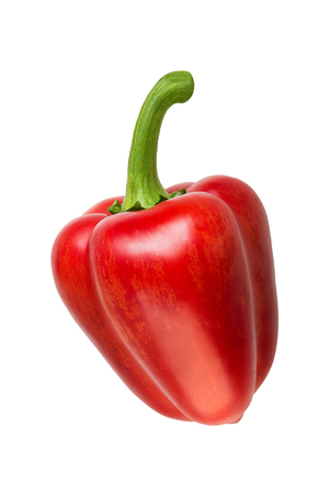 Red Pepper Isolated on White Background. Vegetable Ingredient for Cooking Salad or Juice.