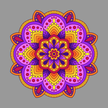 Decorative Element Mandala of Warm Colors. Colored  Oriental Circular Pattern. Illustration