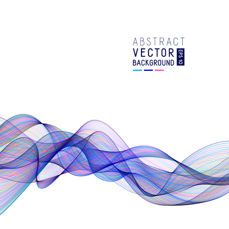 Abstract Background with Blue Wave Lines on White Backdrop. Template for Business Presentation, Publication, Place for your Text.