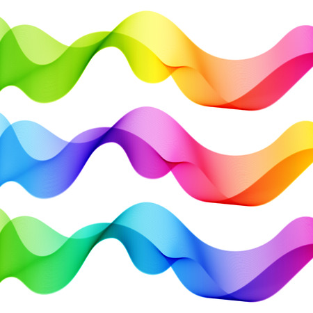 Set of Bright Vibrant Abstract Isolated Wave Lines for White Background. Illustration