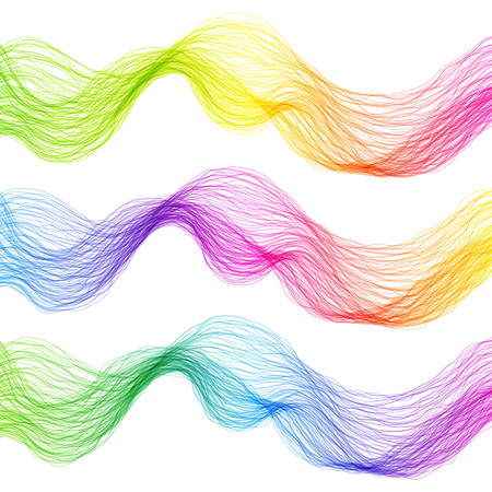 Set of Colorful Abstract Isolated Wave Lines for White Background. Creative Line Art.