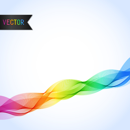 Universal Abstract Bright Background with Rainbow Wave Line.