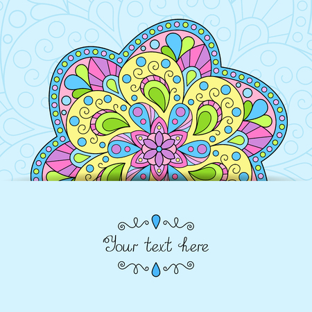 Vector Design Concept with Place for your Text. Template with Pastel Colored Mandala for your Postcard, Greeting Card, Invitation, Congratulation, Wish.