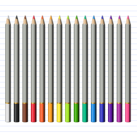 Set of Isolated Realistic Sharp Colored Pencils. School Supplies Colored Pencils for Childs Drawing.