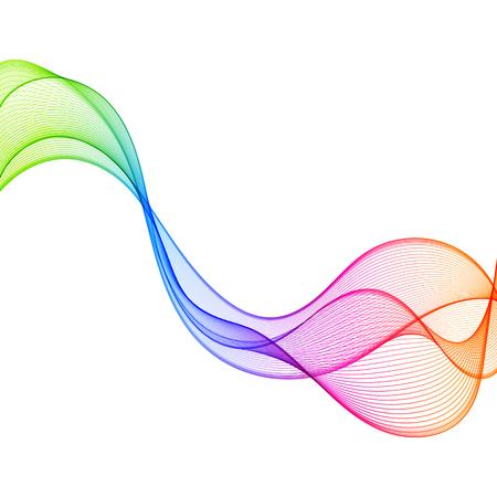 Linea di onda variopinta di pendenza dell'elemento di progettazione isolata su fondo bianco. Linea curva orizzontale ondulata liscia trasparente astratta. Archivio Fotografico - 88086777