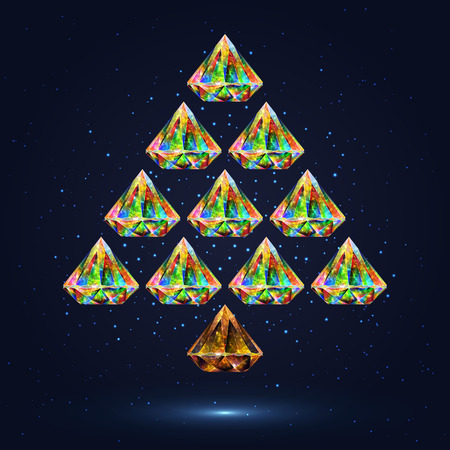christmastime: Colorful Stylized Christmas Tree Composed of Crystals Isolated on Dark Background with Effect of Shimmering Flying Particles. New Year Design Concept. Illustration