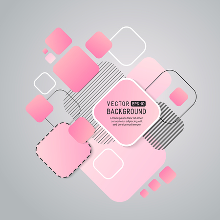 Modern Geometric Design Template for Universal Application. Layout with Gradient Pink Squares for your Text.