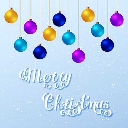 Merry Christmas Handwritten Lettering Text with Blue, Violet, Yellow Christmas Balls on Light Background. Christmas Design Concept.