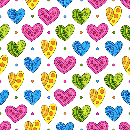 Seamless Pattern of Blue, Green, Pink, Yellow Hand-drawn Hearts on White Background. Creative Continued Doodle Ornament. Illustration