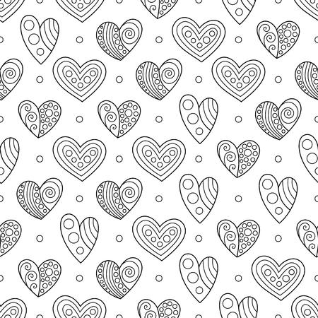 Colorear Página Corazón Flor Del Día De San Valentín. Ilustraciones ...