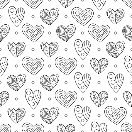 Black and White Contour Hearts for Page of Coloring Book. Seamless Pattern for Anti-Stress Therapy.