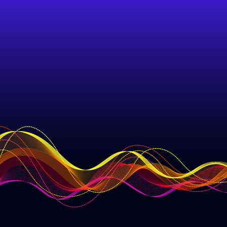 Universal Abstract Background with Horizontal Colored Wave Line on Dark Blue Backdrop. Template with Bright Smooth Wavy Curved Line for your Text, Information, Publication.