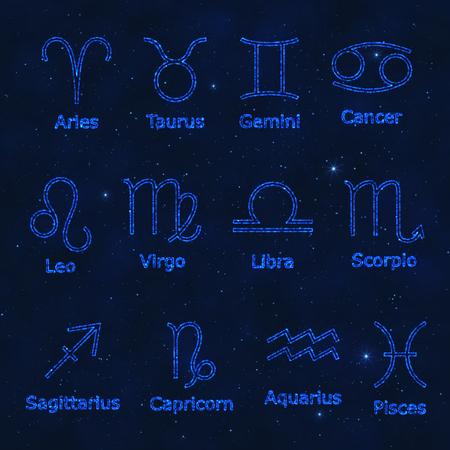 Set of Decorative Design Elements Blue Zodiac Signs on Starry Sky. Figures for Horoscope with Light Effect. Vektoros illusztráció