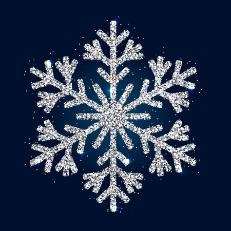 Design Element Stylized Christmas Accessory Sparkling Snowflake Isolated on Dark Background. Realistic Effect of Shimmering Silver Glitters.