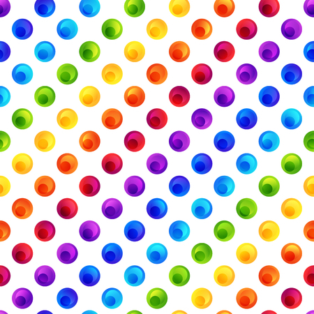 Rainbow Seamless Pattern of Colorful Circles on White Backdrop. Background in Colored Polka Dots. Patterned Motif.