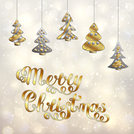 Stylized Accessory Christmas Trees and Lettering Isolated on Light Bokeh Background. New Year Template with Silver and Gold Effect for Postcard, Greeting Card, Invitation. Vettoriali