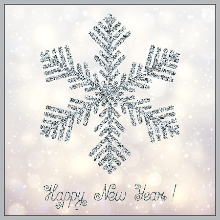 Stylized Christmas Accessory Sparkling Snowflake on Light Bokeh Background. Template with Realistic Effect of Shimmering Silver Glitters for New Year Postcard, Greeting Card, Invitation.