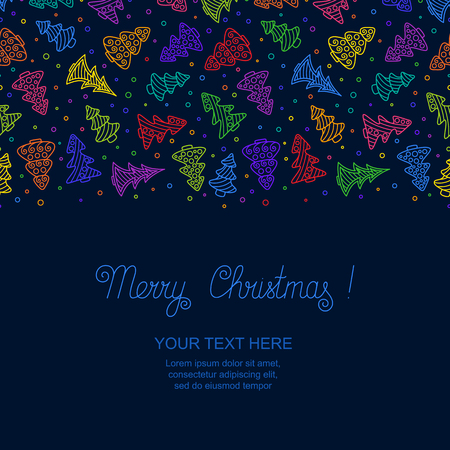 New years Template with Bright Colorful Hand-drawn Outline Christmas Trees on Dark Blue Backdrop. Christmas Seamless Pattern Continuous to Right and to Left for  Invitation, Congratulation, Wish. Illustration
