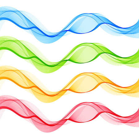 Set of Blue Green Red Yellow Abstract Isolated Transparent Wave Lines for White Background. Design Elements Smooth Wavy Horizontal Curved Lines for Business Presentation, Blank, Template, Cover.