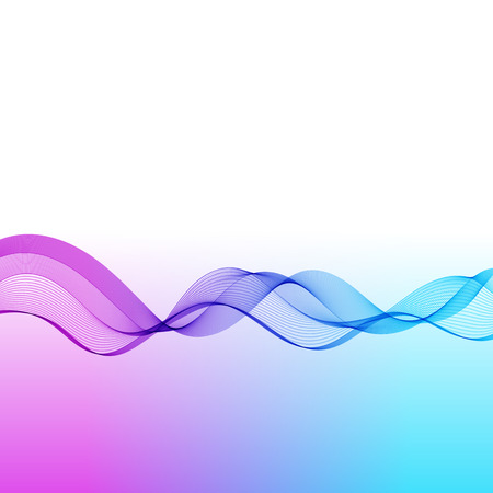 Template with Wave Line for your Text, Information, Publishing. Abstract Transparent Smooth Wavy Horizontal Curved Line on Gradient Background.