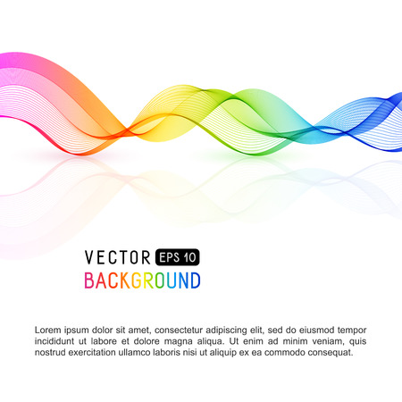 Template with gradient rainbow wave line for your text, information, publishing. Abstract smooth colored, wavy horizontal curved line on white background.