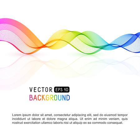 Modello con linea d'onda arcobaleno sfumato per testo, informazioni, pubblicazione. Linea curva orizzontale colorata, ondulata liscia astratta su fondo bianco.