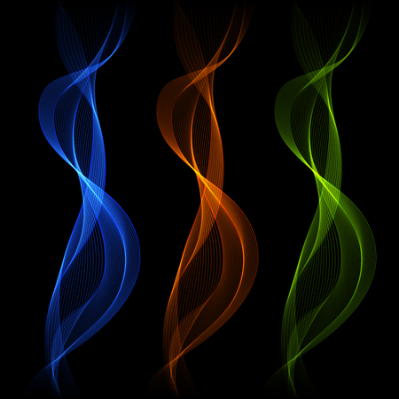 Set of Blue, Orange, Abstract Isolated Transparent Wave Lines for Dark Background. Light Effect.