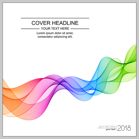Universal Cover Design with Gradient Colored Wave Line on White Background