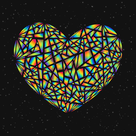 Abstract design element colorful broken heart isolated on dark background. Heart from segments with realistic holographic effect.