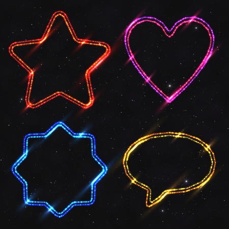 Set of design elements neon shapes isolated on dark starry background. Glowing electric abstract frames with light effect. Illustration