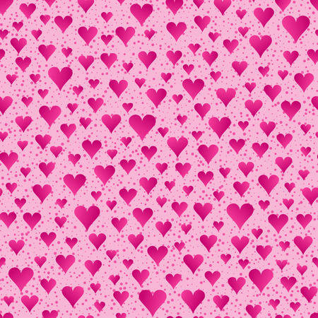 Abstract Seamless Pattern of Bright Pink Hearts on Light Pink Backdrop. Continuous Romantic Background for Cloth, Fabric, Textile, Tissue, Pack Paper, Wrapping Paper. Ilustração