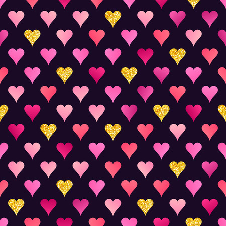 Abstract Seamless Pattern of Pink and Golden Hearts with Realistic Glitter Effect on Dark Backdrop. Continuous Romantic Background for Universal Application.