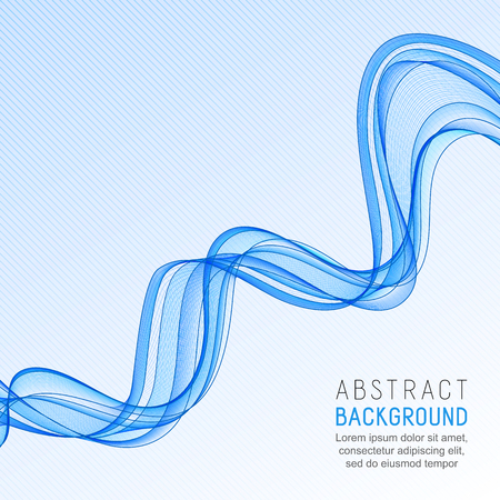 Abstract Background with Transparent Blue Wave Line on Striped Gradient Backdrop. Watery Smooth Wavy Horizontal Curved Line. Illustration