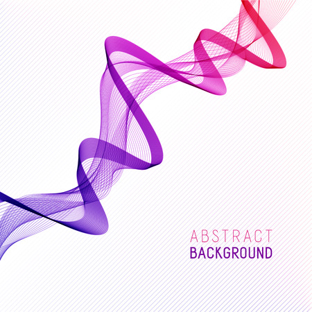 Business Background with Gradient Pink and Violet Wave Line for your Text, Information, Publishing. Abstract Transparent Smooth Wavy Horizontal Curved Line on Light Striped Backdrop. Illustration