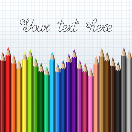 Rainbow Template of Realistic Colorful Pencils on Squared Paper for  Page  Presentation  Website. Row of Childs Colored Pencils. Illustration
