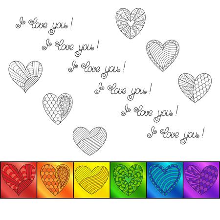 """Vorlage mit Regenbogenquadraten mit bunten Herzen und Aufschrift """"Ich liebe dich"""" auf weißem Hintergrund. Doodle handgezeichnete Leerstelle für romantische Nachricht mit leicht zu änderndem Text."""