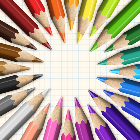 Stylized Round Frame of Colored Pencils Close-up on Checkered Paper. Composition of Design Elements School Supplies. Illustration