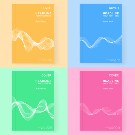 Set of Universal Abstract Covers Design Blue, Green, Pink and Yellow with White Wave Line. Templates with Smooth Wavy Horizontal Curved Line for Book, Booklet, Brochure, Pamphlet, Copybook, Notebook, Textbook.