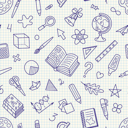 School Hand-drawn Seamless Stationery Symbols Pattern on Squared Paper Backdrop. Continuous Doodle Background for Pack or Wrapping Paper and Pupil's Products. Illustration