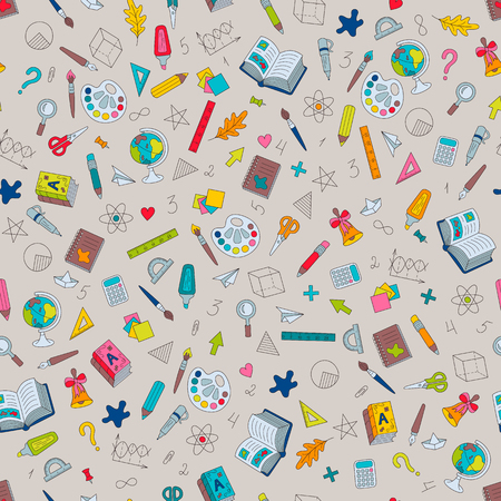 School Hand-drawn Colored Seamless Pattern of Symbols Stationery on Light Backdrop. Continuous Background of Doodle Objects for Cloth, Fabric, Textile, Tissue and Pupils Products.