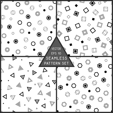Geometric Seamless Pattern of Black Figures on White Backdrop. Continuous Monochrome Background for Cloth, Fabric, Textile, Tissue, Pack Paper, Wrapping Paper. Иллюстрация