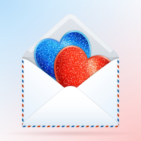 Stylized Paper Envelope with Red and Blue Glittering Hearts. Greeting Cards Hearts with Realistic Glitter Effect.